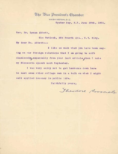 504: THEODORE ROOSEVELT TYPED LETTER SIGNED AS VP