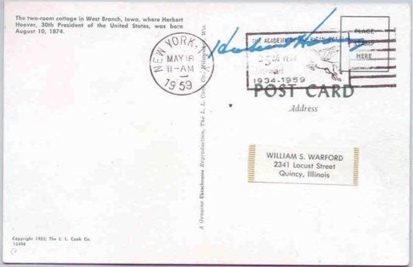 507: HERBERT HOOVER FREE FRANKED POSTCARD SIGNED