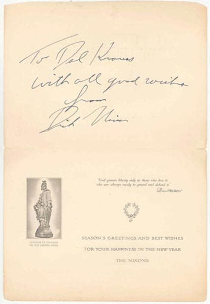 508: RICHARD M. NIXON SEASON'S GREETINGS CARD SIGNED