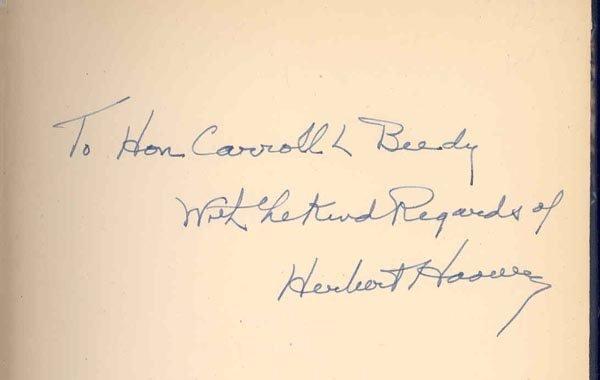 510: PRESIDENT HERBERT HOOVER BOOK SIGNED