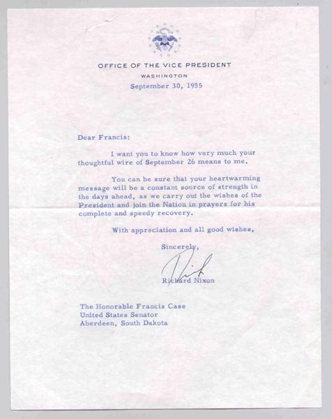 511: RICHARD NIXON TYPED LETTER SIGNED AS VP