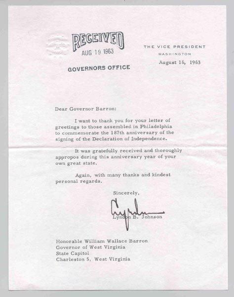 513: LYNDON B. JOHNSON TYPED LETTER SIGNED AS VP