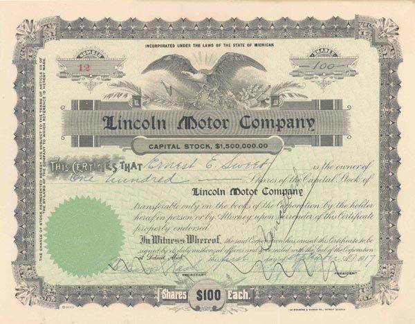 524: HENRY LELAND & WILLIAM T. NASH DOCUMENT SIGNED
