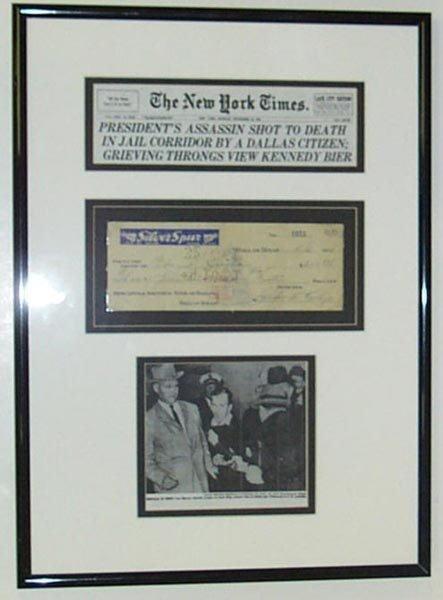 537: (JFK) JACK RUBY CHECK SIGNED - FRAMED