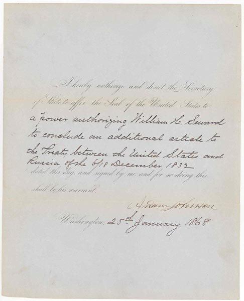 1: ANDREW JOHNSON DOCUMENT SIGNED AS PRESIDENT