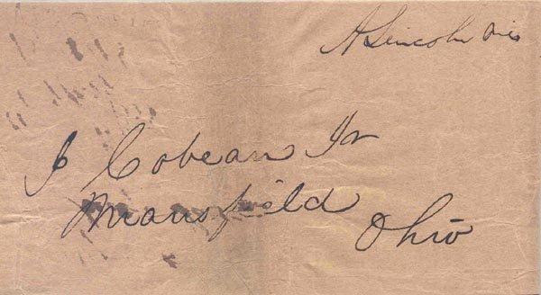 3: ABRAHAM LINCOLN FREE FRANKED ENVELOPE SIGNED
