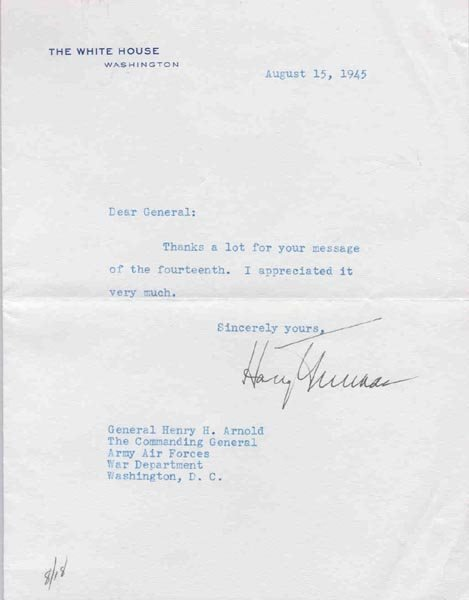 6: HARRY S. TRUMAN TYPED LETTER SIGNED AS PRESIDENT