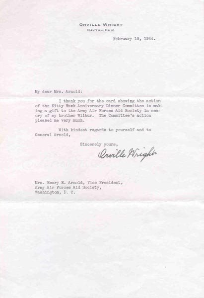 7: ORVILLE WRIGHT WAR DATED TYPED LETTER SIGNED