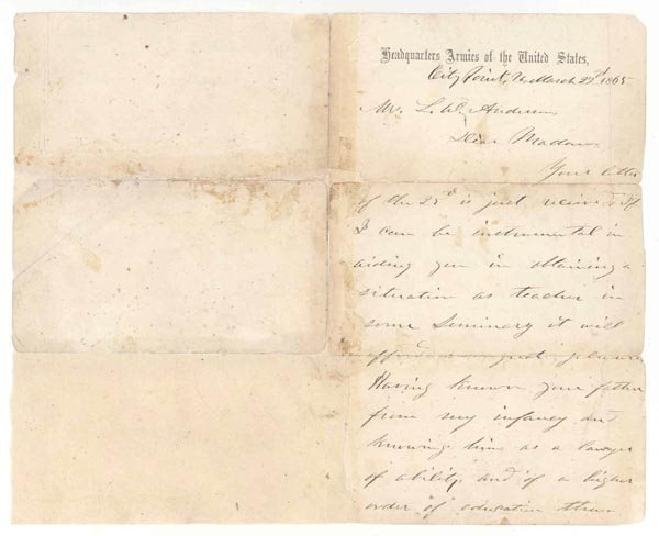 11: U.S. GRANT AUTOGRAPH LETTER SIGNED - WAR DATED