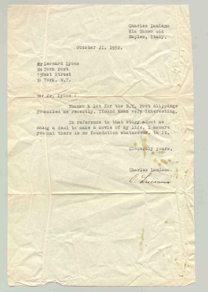 """14: CHARLES """"LUCKY"""" LUCIANO TYPED LETTER SIGNED"""