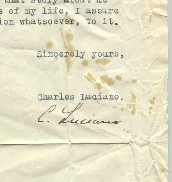 """14: CHARLES """"LUCKY"""" LUCIANO TYPED LETTER SIGNED - 2"""
