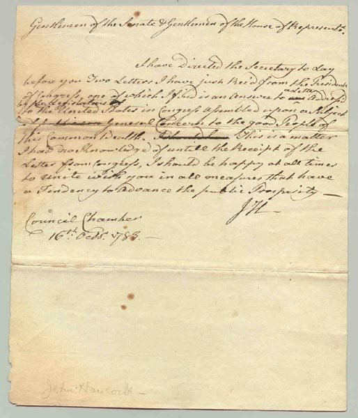17: JOHN HANCOCK AUTOGRAPH LETTER SIGNED AS GOVERNOR