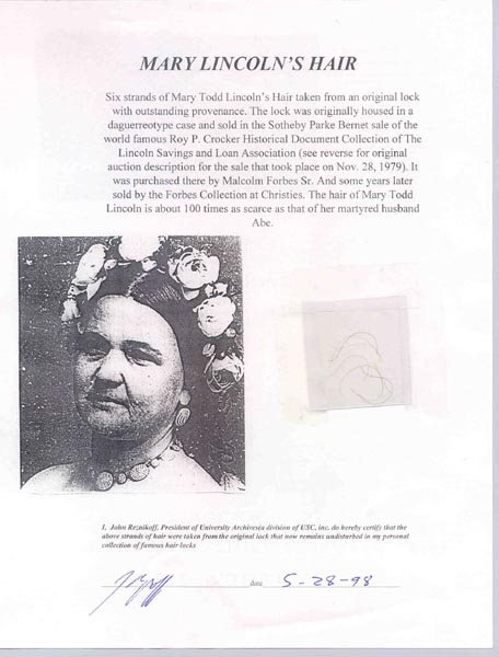 27: (MARY LINCOLN) STRANDS OF HAIR