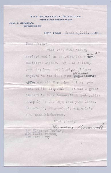 41: THEODORE ROOSEVELT TYPED LETTER SIGNED