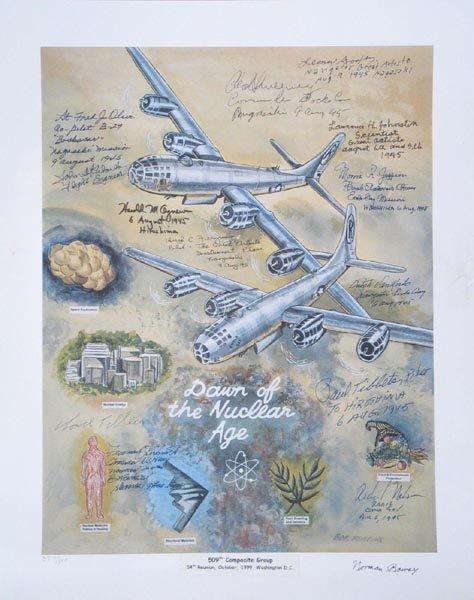 153: (ATOMIC BOMB) CREW & EDWARD TELLER SIGNED LITHO