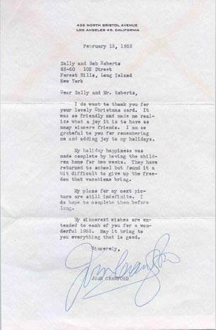 602: JOAN CRAWFORD TYPED LETTER SIGNED - ACTRESS