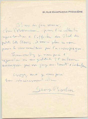 565: GEORGE BARBIER AUTOGRAPH LETTER SIGNED - ART DECO