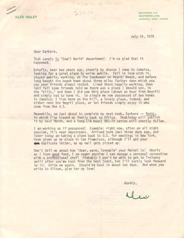 511: ALEX HALEY TYPED LETTER SIGNED - REGARDING ROOTS