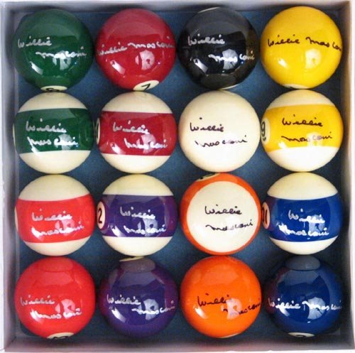 1008: 16 WILLIE MOSCONI SIGNED BILLIARD BALLS - PSA/DNA