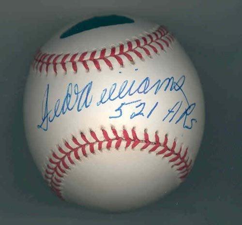 "1019: TED WILLIAMS SIGNED BASEBALL - ""521 HRs"" - GD COA"