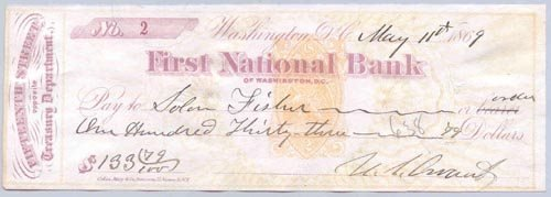 705: ULYSSES S. GRANT CHECK SIGNED AS PRESIDENT