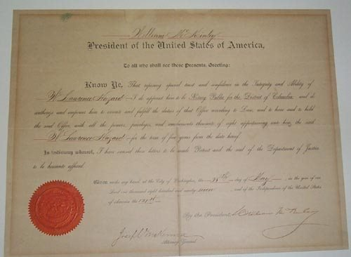 710: WILLIAM McKINLEY DOCUMENT SIGNED AS PRESIDENT