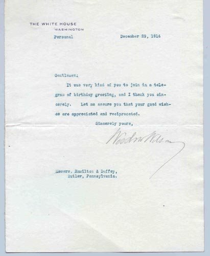 715: WOODROW WILSON TYPED LETTER SIGNED AS PRESIDENT