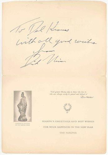723: RICHARD M. NIXON SEASON'S GREETINGS CARD SIGNED