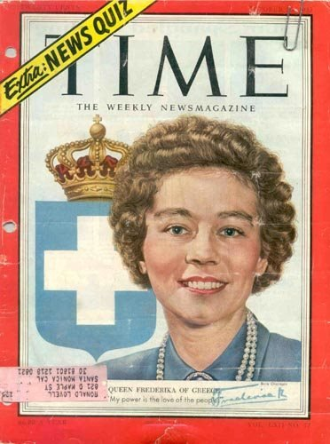 742: QUEEN FREDERIKA OF GREECE TIME MAGAZINE SIGNED