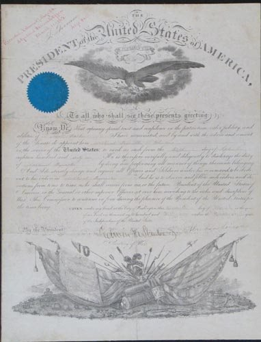 2001: ABRAHAM LINCOLN DOCUMENT SIGNED AS PRESIDENT