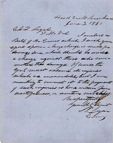 2006: NATHANIEL LYON WAR DATED AUTOGRAPH LETTER SIGNED