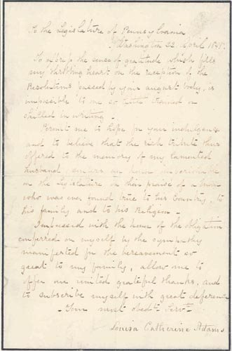 2014: LOUISA ADAMS AUTOGRAPH LETTER SIGNED -FIRST LADY