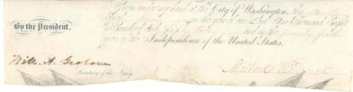 2018: M. FILLMORE PARTIAL DOCUMENT SIGNED AS PRESIDENT