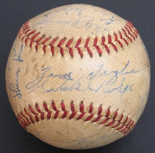 2204: 1950s ST. LOUIS BROWNS TEAM SIGNED BALL-PSA