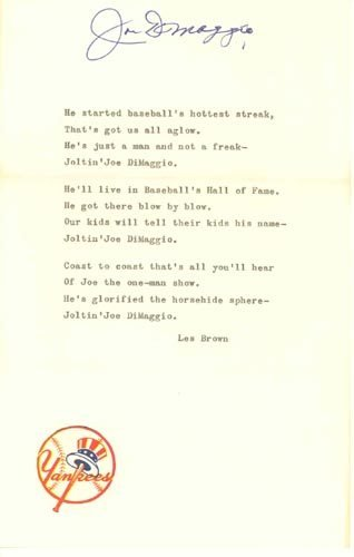 "2209: J. DiMAGGIO SIGNED LYRICS ""JOLTIN' JOE"" - PSA"