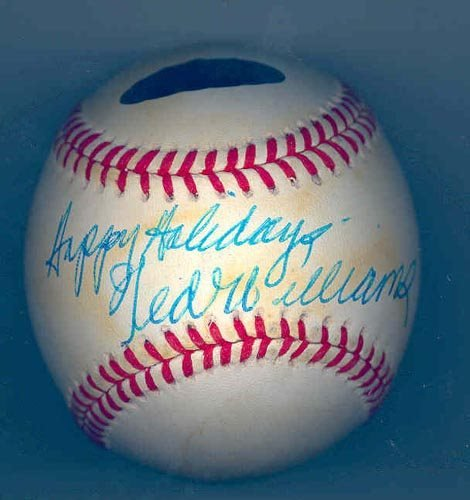"2212: TED WILLIAMS SIGNED ""HAPPY HOLIDAYS"" BALL"