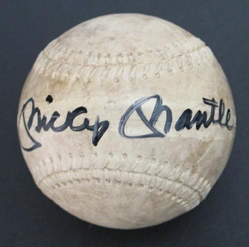 2215: MICKEY MANTLE SIGNED ALL-WEATHER BALL - PSA/DNA
