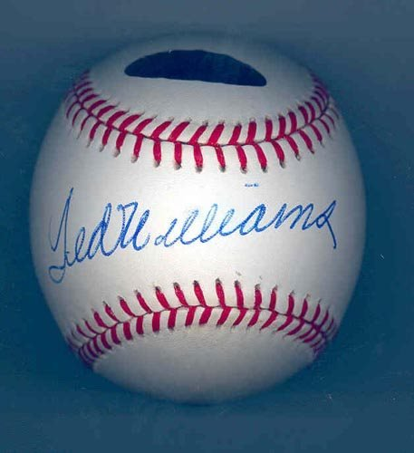 2217: TED WILLIAMS SIGNED AL BALL - GREEN DIAMOND
