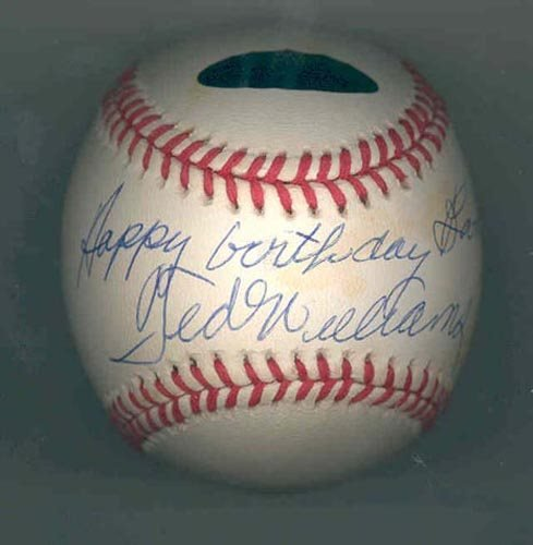 2219: TED WILLIAMS SIGNED & INSCRIBED BALL-GRN DIAMOND