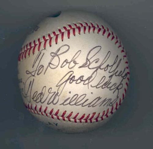 2220: TED WILLIAMS SIGNED & INSCRIBED BALL-GRN DIAMOND