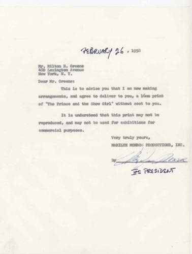 2400: MARILYN MONROE DOCUMENT SIGNED - ACTRESS