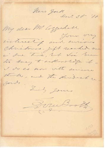 2407: EDWIN BOOTH AUTOGRAPH LETTER SIGNED - ACTOR