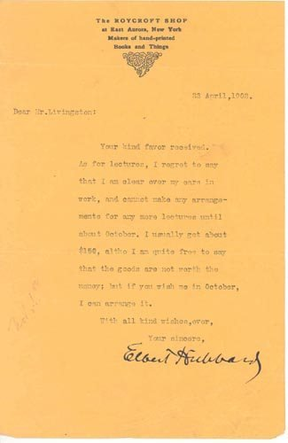2409: ELBERT HUBBARD TYPED LETTER SIGNED - AUTHOR
