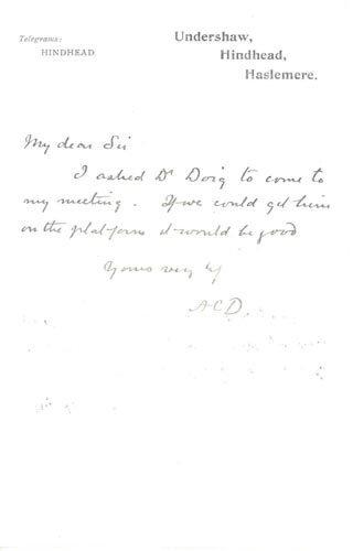 2412: ARTHUR CONAN DOYLE AUTOGRAPH LETTER SIGNED