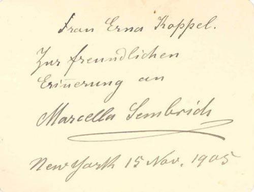2413: MARCELLA SEMBRICH AUTOGRAPH NOTE SIGNED