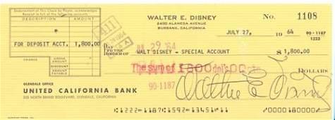 2433: WALT DISNEY CHECK SIGNED
