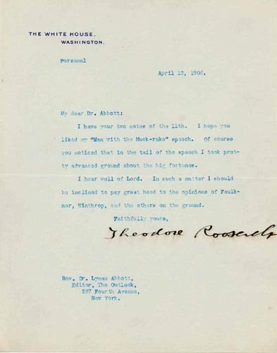 2605: THEODORE ROOSEVELT TYPED LETTER SIGNED AS PRES