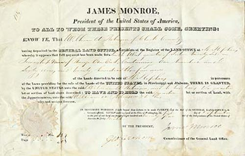 2609: JAMES MONROE DOCUMENT SIGNED AS PRESIDENT