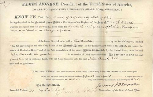 2610: JAMES MONROE DOCUMENT SIGNED AS PRESIDENT