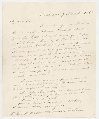 2612: PRESIDENT JAMES BUCHANAN AUTOGRAPH LETTER SIGNED